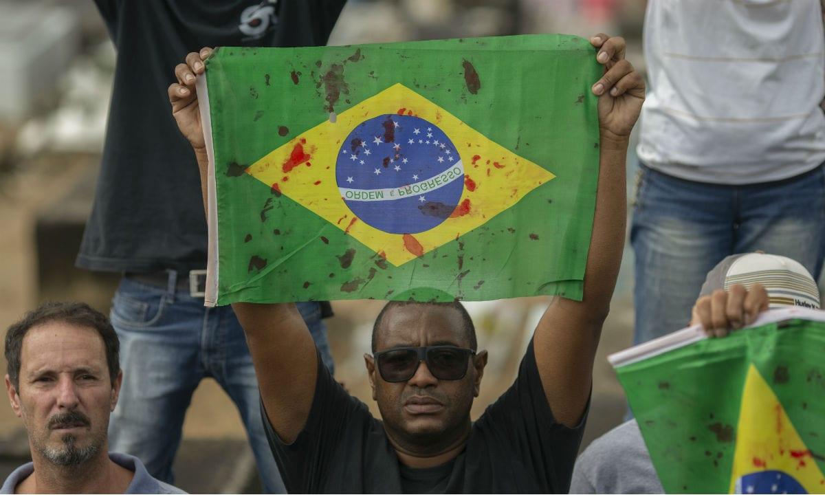 Protesto em memória do músico Evaldo dos Santos, morto em uma ação do Exército na região da Vila Militar, na Zona Oeste do Rio, em 7 de abril de 2019 (Foto: Mauro Pimentel/AFP)