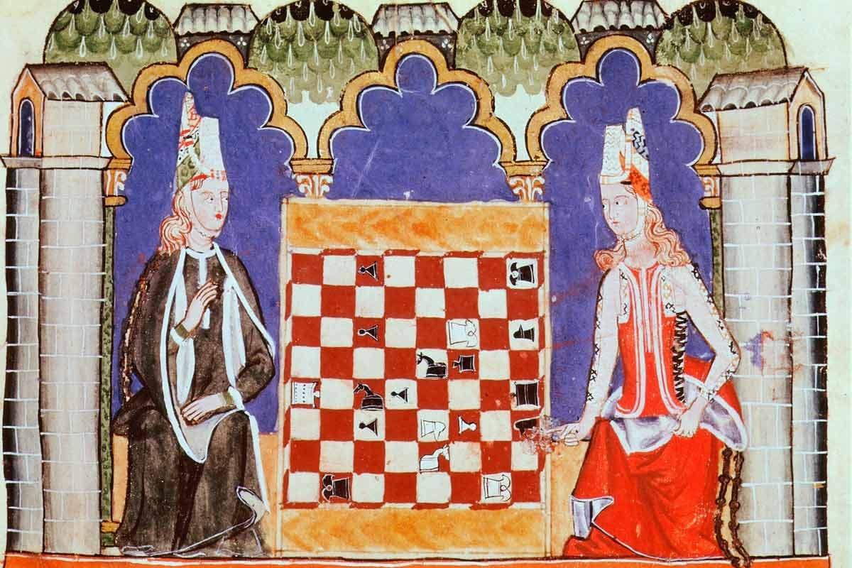 Xadrez antigo Iluminura mostra uma partida de xadrez na Idade Média Senet