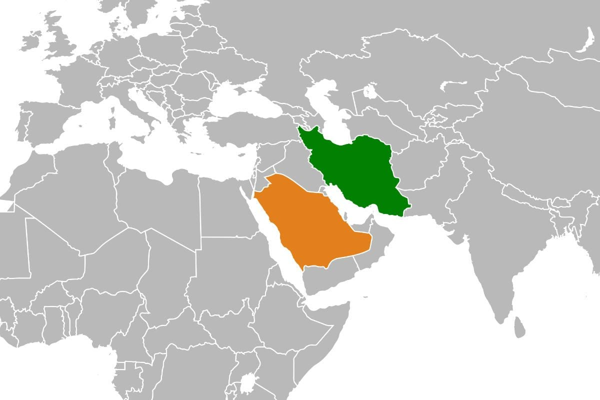  mapa mostra irã e arábia saudita 