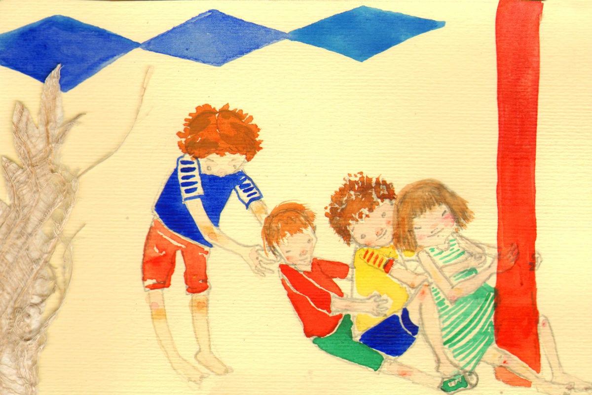 Ilustração mostra crianças brincando de tatu  Cinco Marias Zig Zag Cinco Marias