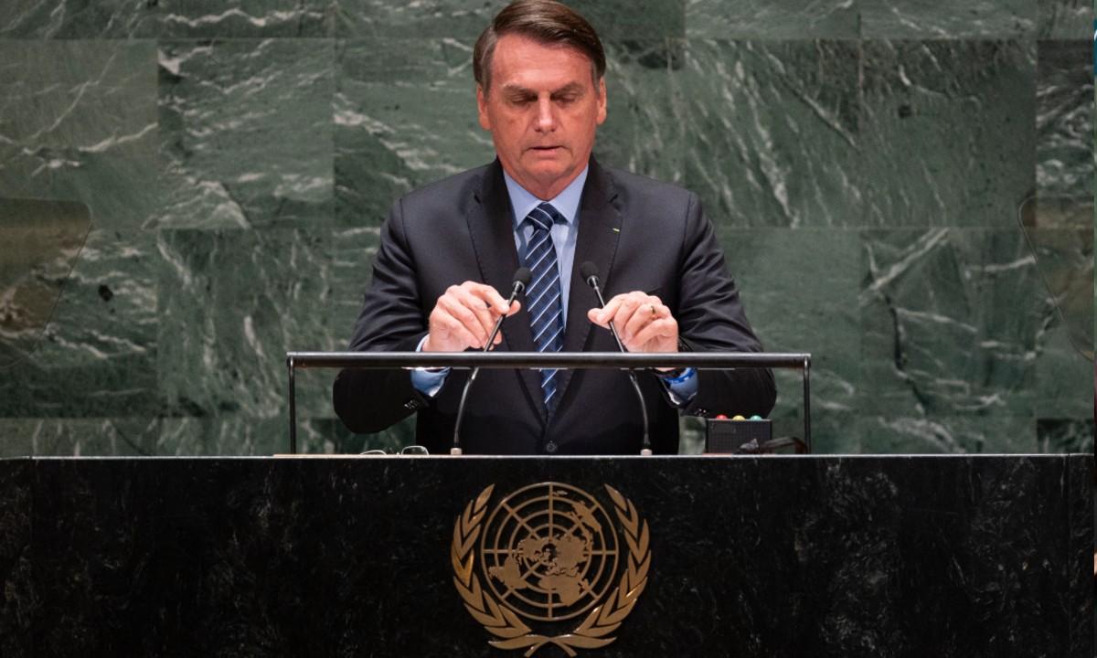 Bolsonaro na ONU (Foto: Johannes EISELE/AFP)