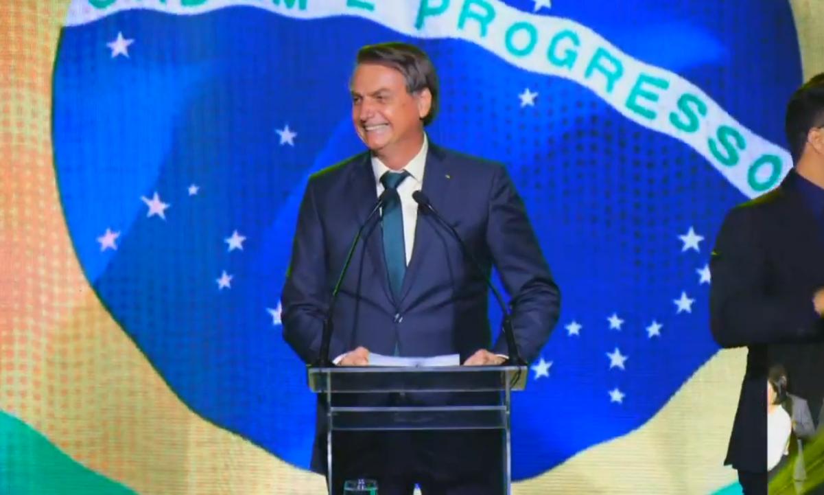 O presidente Jair Bolsonaro, durante cerimônia de estreia do novo partido. Foto: Reprodução/Facebook