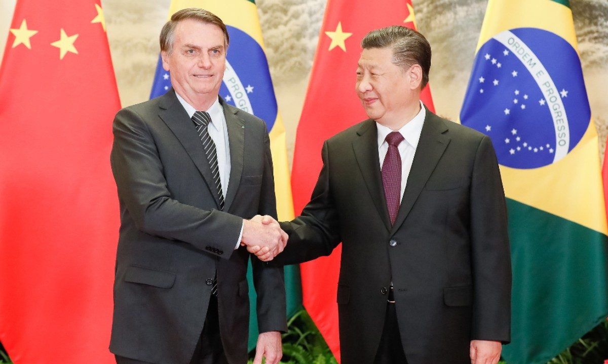 Encontro dos presidentes Jair Bolsonaro e Xi Jinping em Pequim no dia 25 de outubro (Foto: Isac Nóbrega/PR)