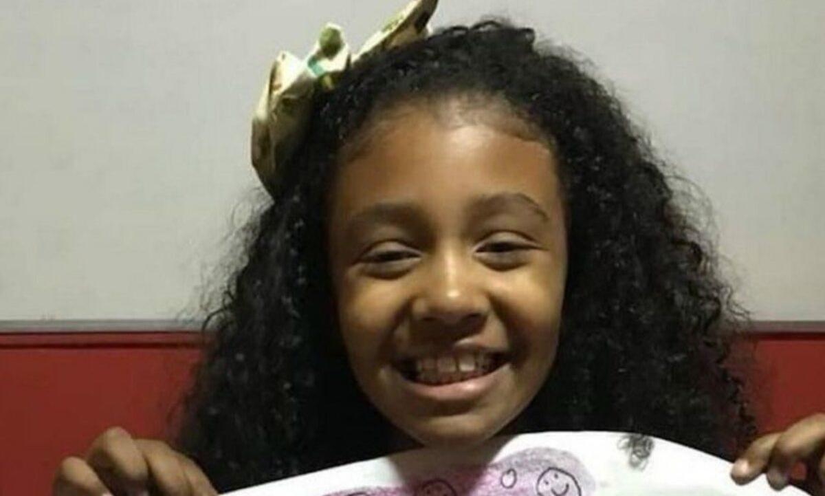A menina Agatha Felix, de 8 anos, baleada com um tiro de fuzil em 2019. Foto: Reprodução