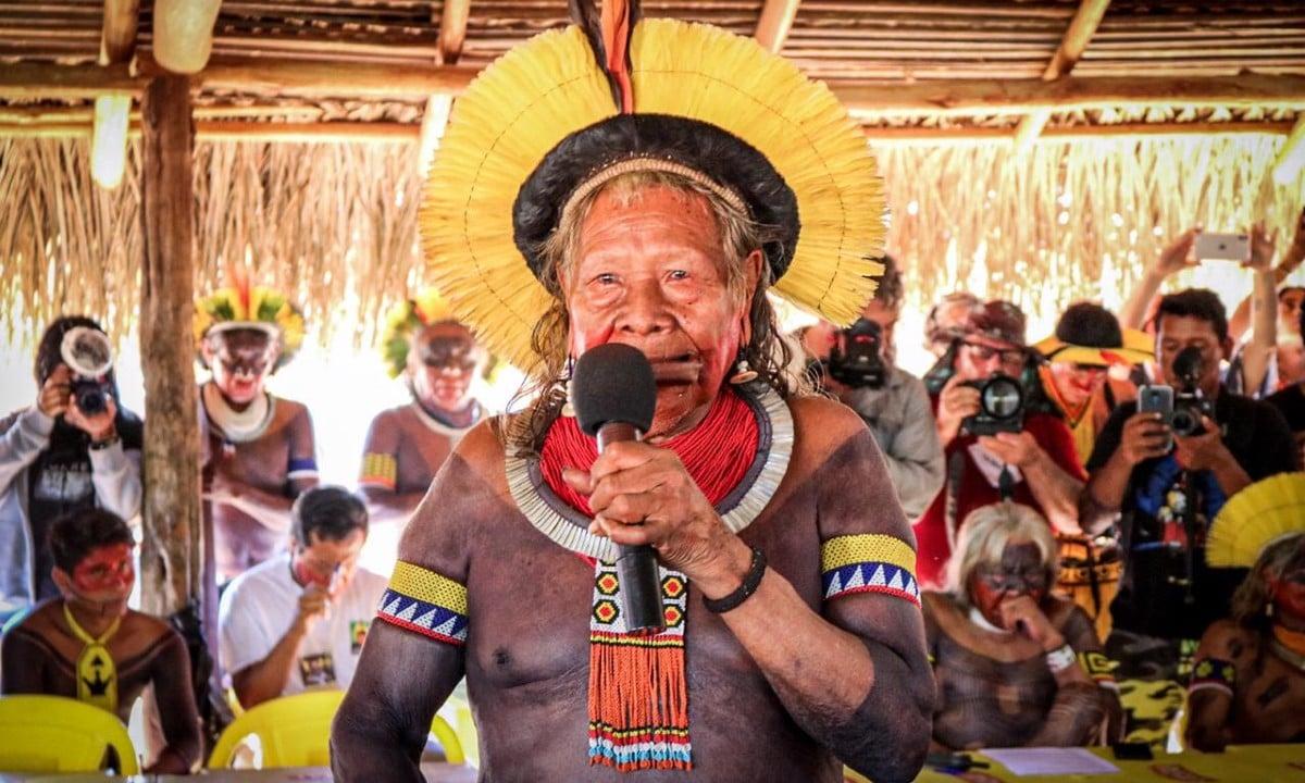 Cacique Raoni em reunião de líderes indígenas (Foto: Eric Marky Terena / Mídia Índia)
