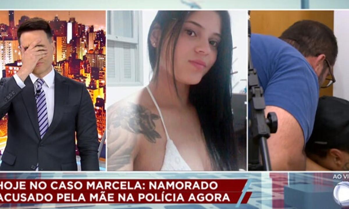 Luiz Bacci, apresentador do policialesco Cidade Alerta (esq.), após revelar a morte da jovem Marcela (centro) à sua mãe (dir.), durante o programa ao vivo - Foto: Reprodução