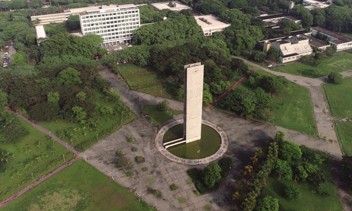 """Vista aérea da Cidade Universitária """"Armando de Salles Oliveira"""" – (Foto: George Campos/USP Imagens)"""