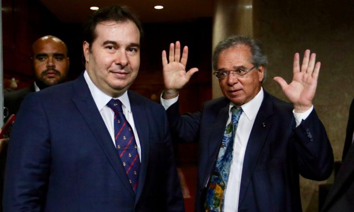 Rodrigo Maia e Paulo Guedes. Foto: Agência Brasil.