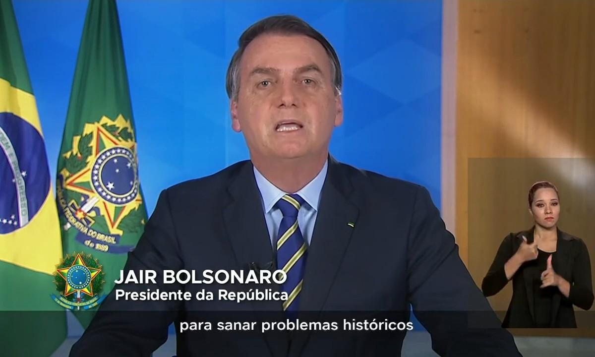 Presidente Jair Bolsonaro, em pronunciamento na TV, no dia 31 de março de 2020. Foto: Reprodução