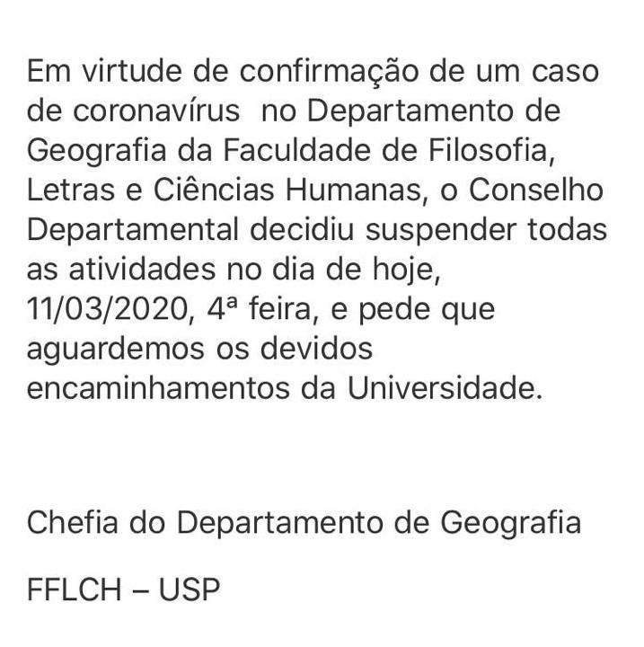 USP confirma primeiro caso de coronavírus e cancela aulas em departamento