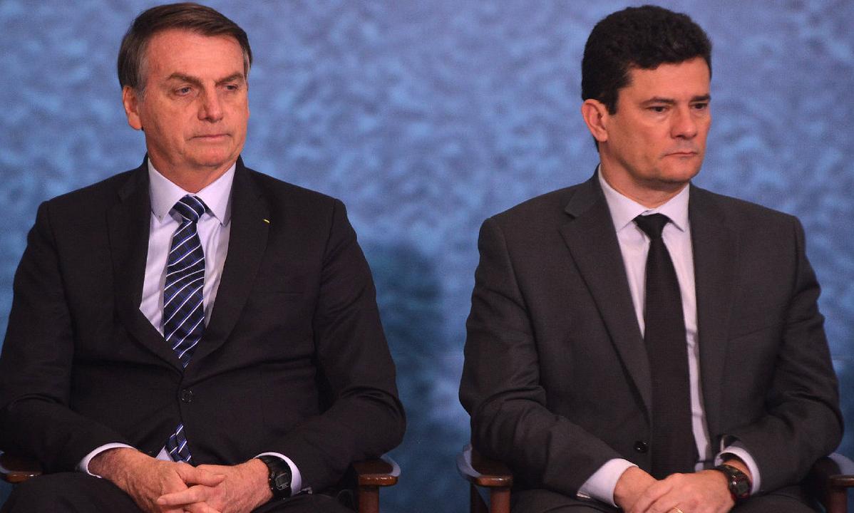 O presidente da República, Jair Bolsonaro, e o ex-ministro da Justiça, Sérgio Moro. Foto: Isaac Amorim/MJSP