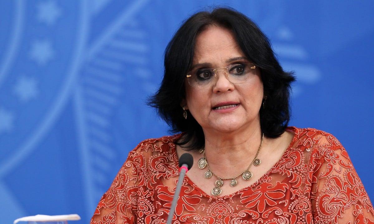 A ministra Damares participou do evento virtualmente (Foto: Júlio Nascimento/PR)