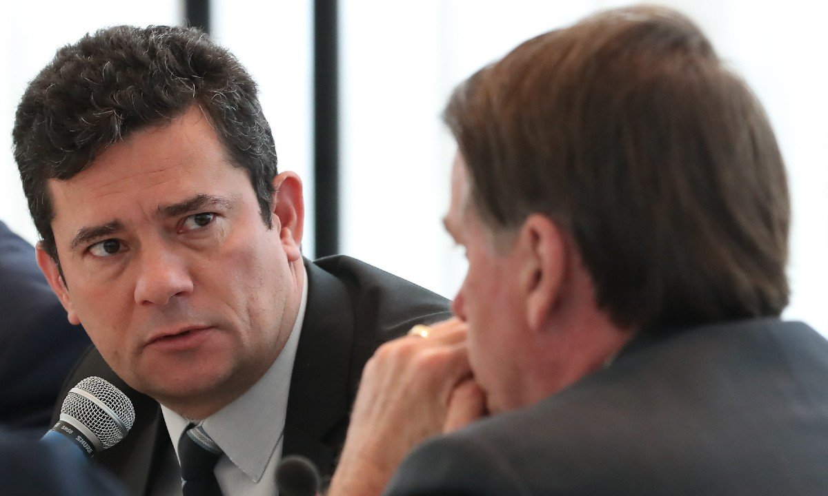 O presidente Jair Bolsonaro e o ex-ministro da Justiça Sergio Moro. Foto: Marcos Corrêa/PR