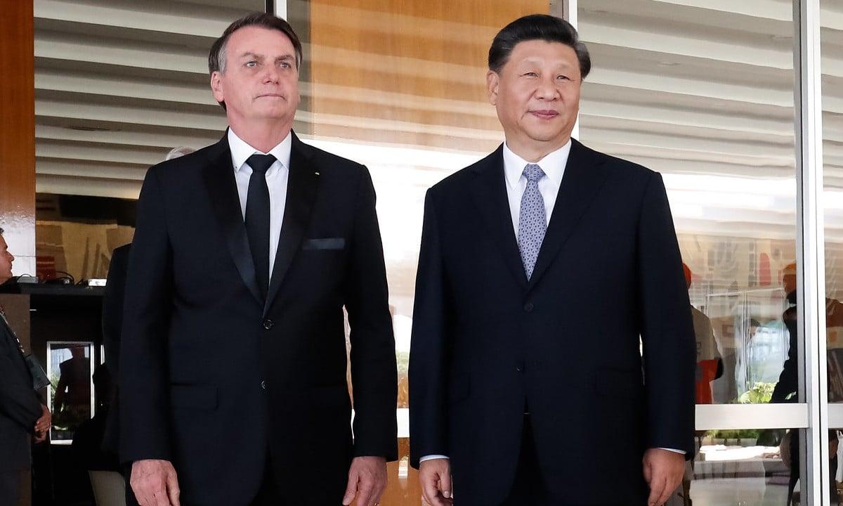 O presidente da China, Xi Jinping, ao lado do presidente Jair Bolsonaro. Foto: Alan Santos/PR