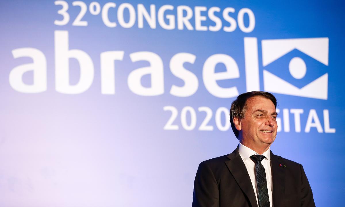 Bolsonaro em evento promovido pela Associação Brasileira de Bares e Restaurantes (Abrasel). Foto: PR