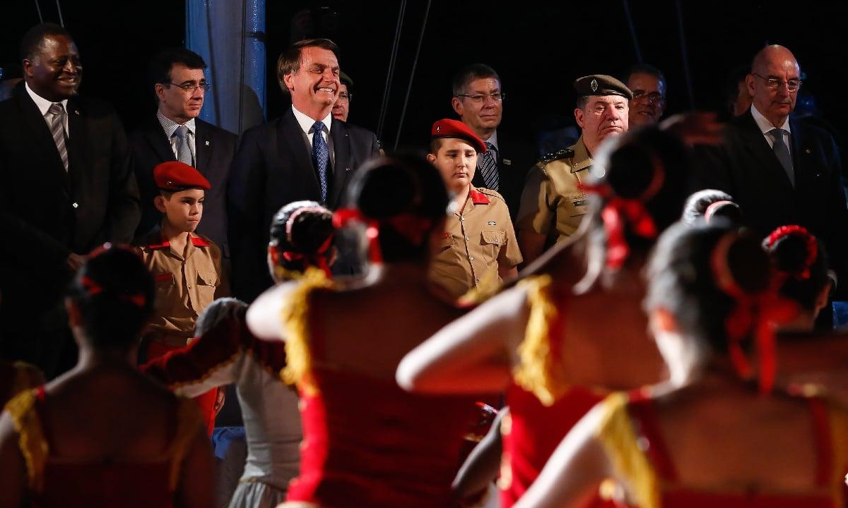 O presidente Jair Bolsonaro durante a comemoração do aniversário de criação do Colégio Militar de Brasília. Foto: PR