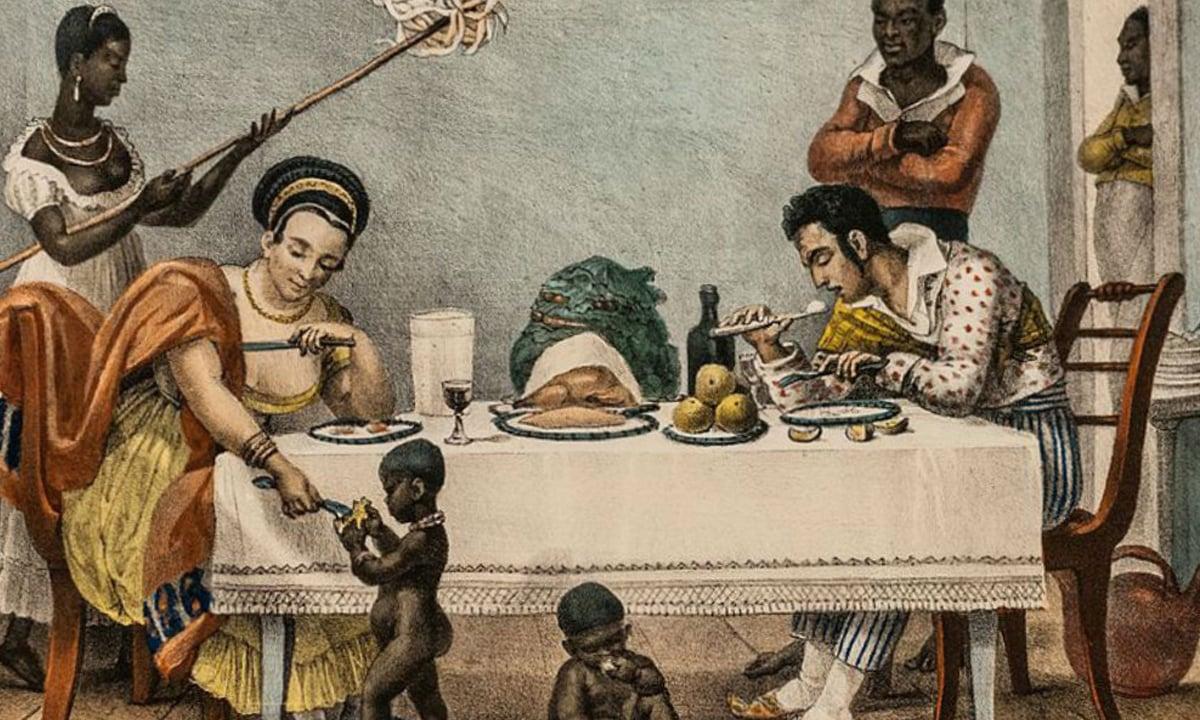 Pintura de Debret: Um jantar brasileiro (1827)