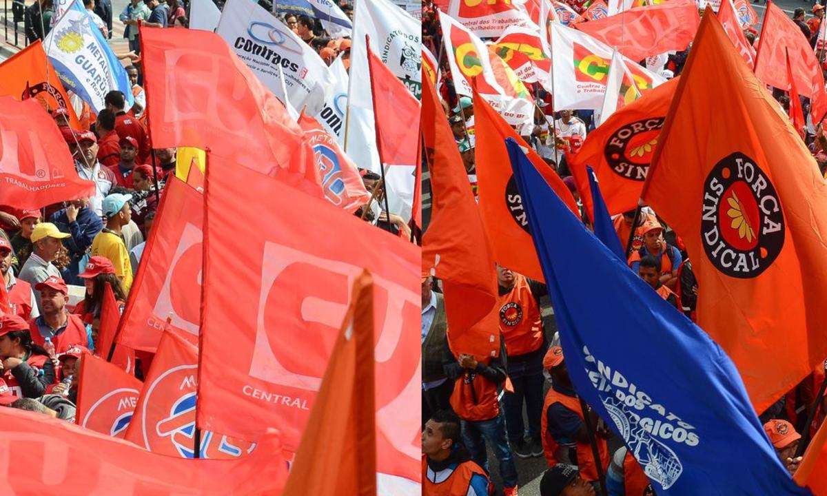 As centrais sindicais CUT e Força Sindical: Fotos: Rovena Rosa/Agência Brasil