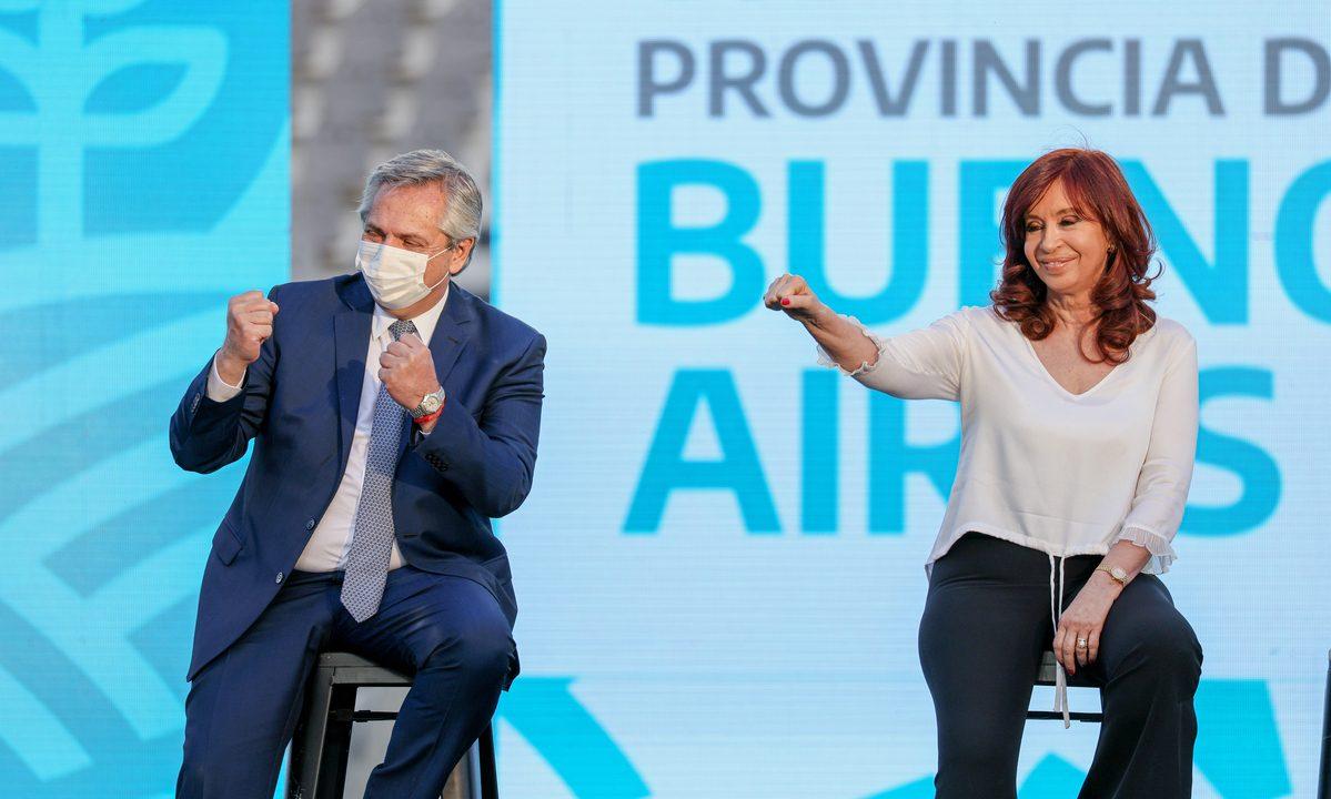 O presidente da Argentina, Alberto Fernández, e a vice Cristina Kirchner. Foto: ESTEBAN COLLAZO/Argentinian Presidency