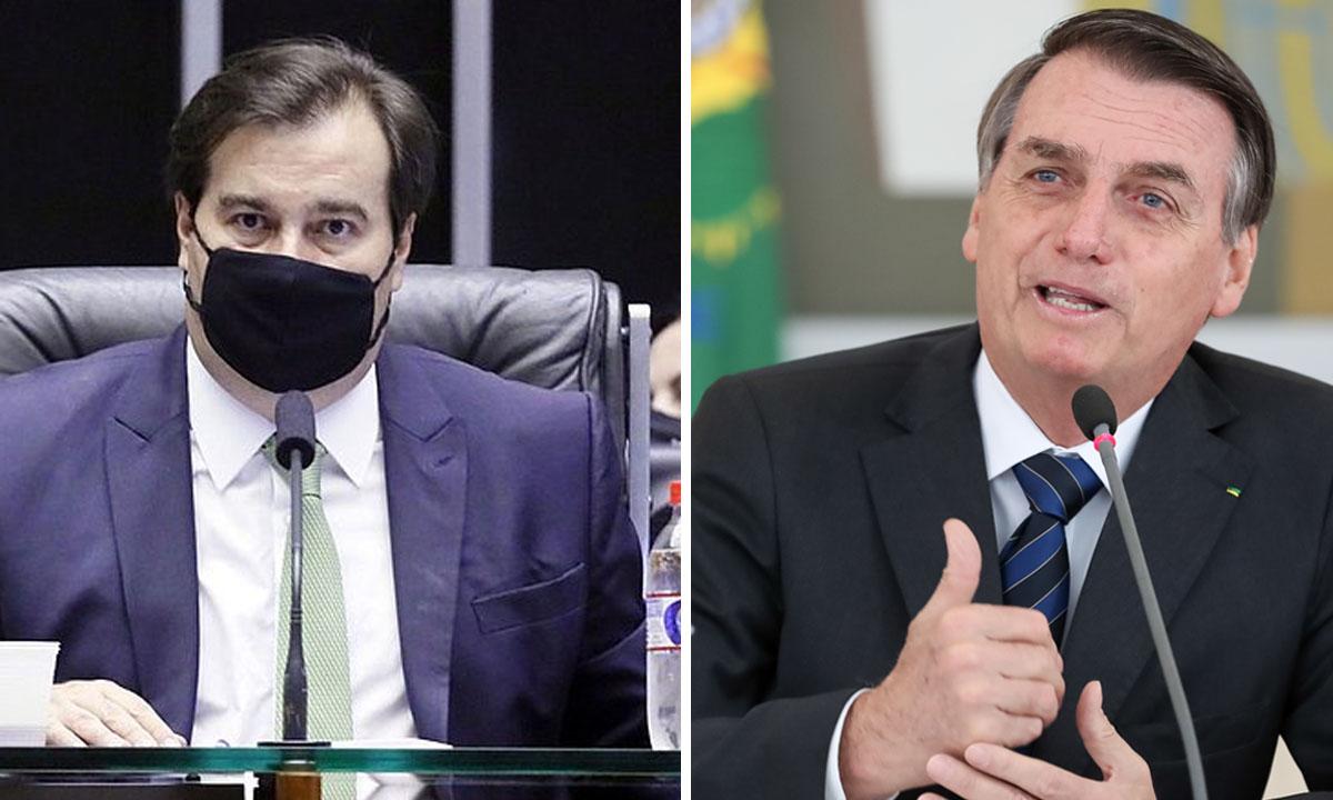 Rodrigo Maia e Jair Bolsonaro. Fotos: Michel Jesus/Câmara dos Deputados - Marcos Corrêa/PR