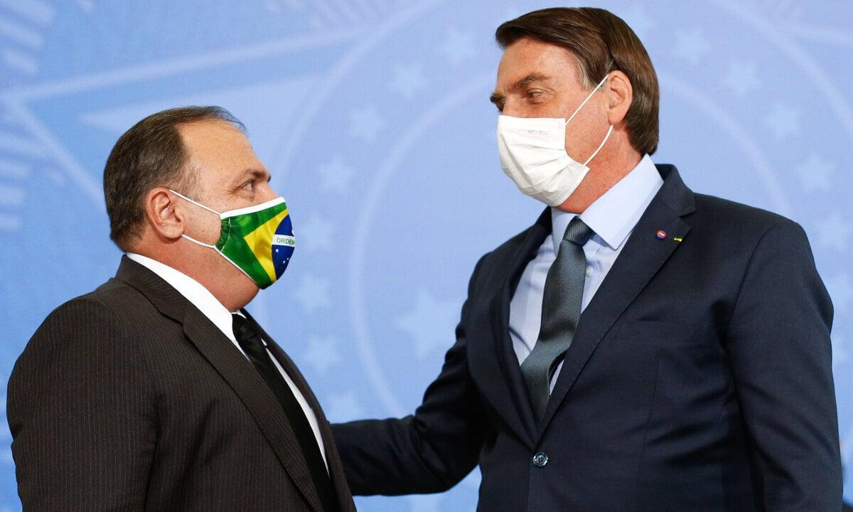 O ex-ministro da Saúde, Eduardo Pazuello, e o presidente Jair Bolsonaro. Foto: Carolina Antunes/PR