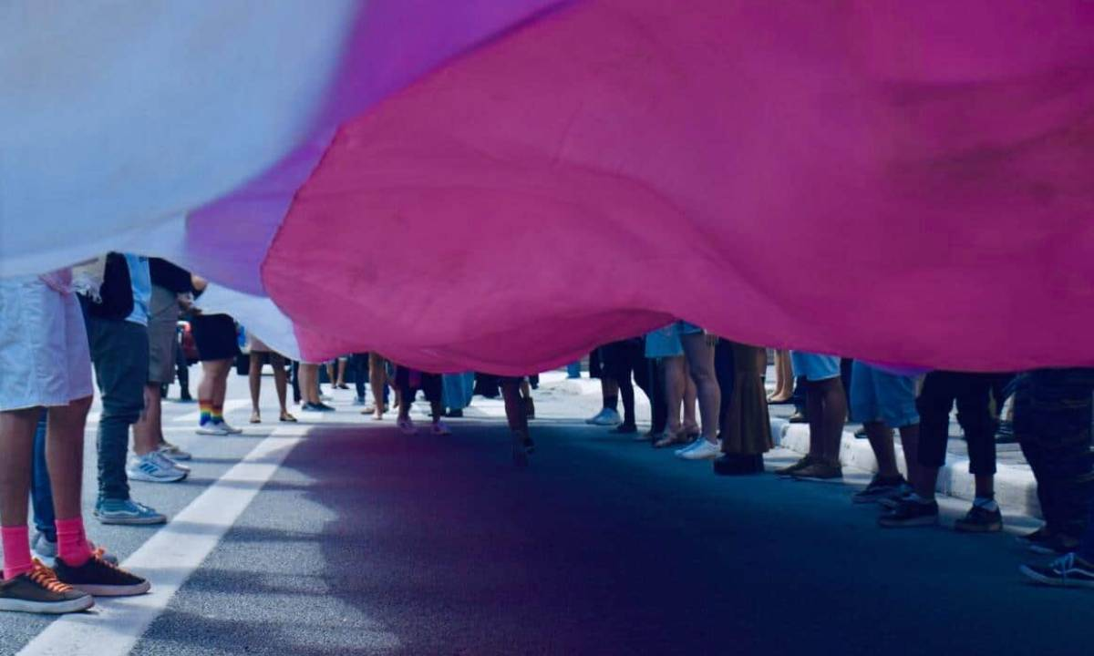 Ato realizado no Dia da Visibilidade Trans pela luta por direitos sociais (Foto: Elineudo Meira/Fotos Públicas)