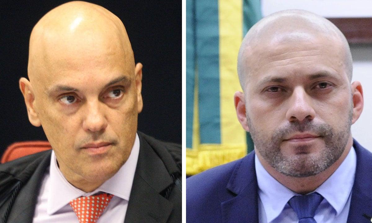 Alexandre de Moraes e Daniel Silveira. Fotos: Nelson Jr./STF e Cleide Viana/Câmara dos Deputados