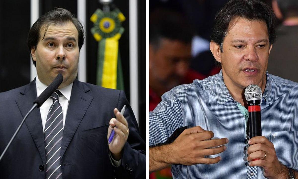 Rodrigo Maia e Fernando Haddad. Fotos: Wilson Dias/Agência Brasil e Nelson Almeida/AFP