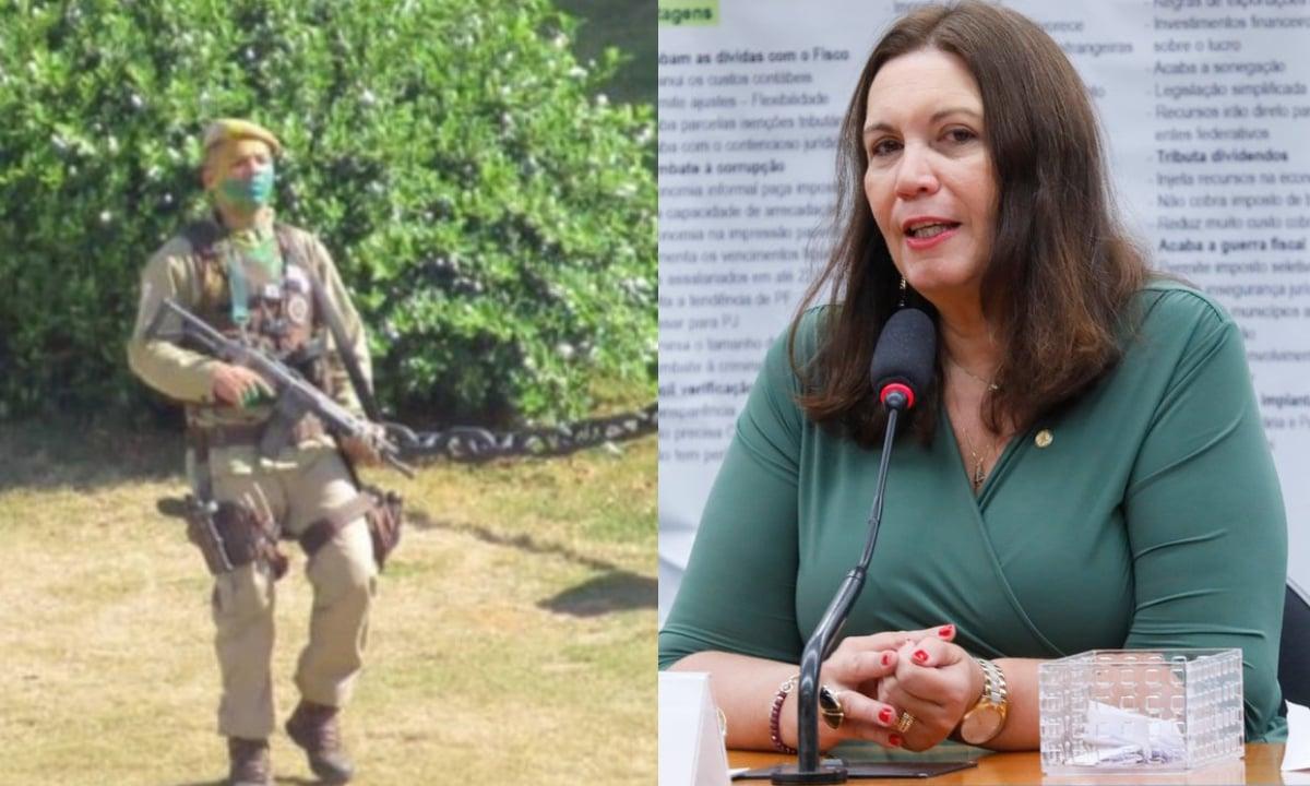 Bia Kicis inventiva motim na PM da Bahia após morte de policial.
