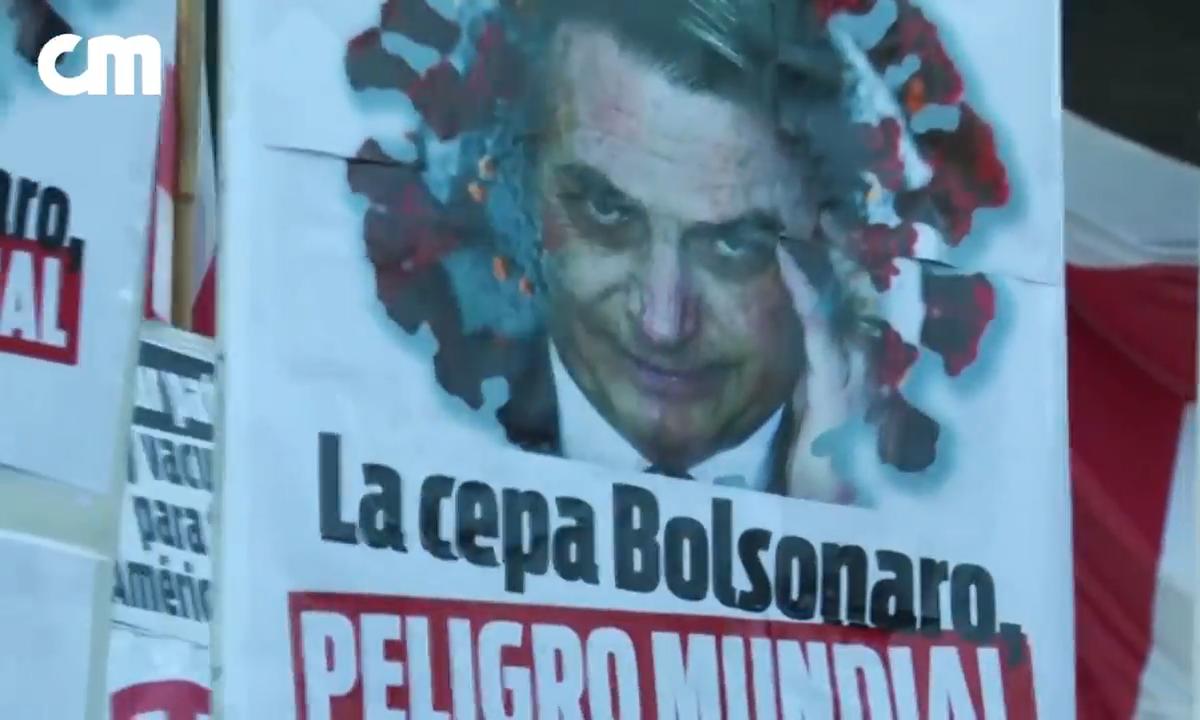 Presidente Jair Bolsonaro é alvo de protesto na Argentina. Foto: Reprodução