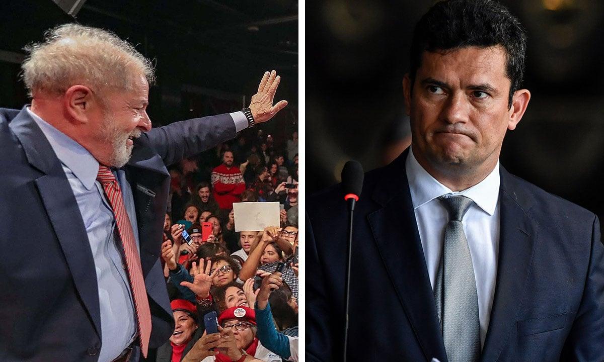 Lula e Sergio Moro. Fotos: Ricardo Stuckert e Nelson Almeida/AFP
