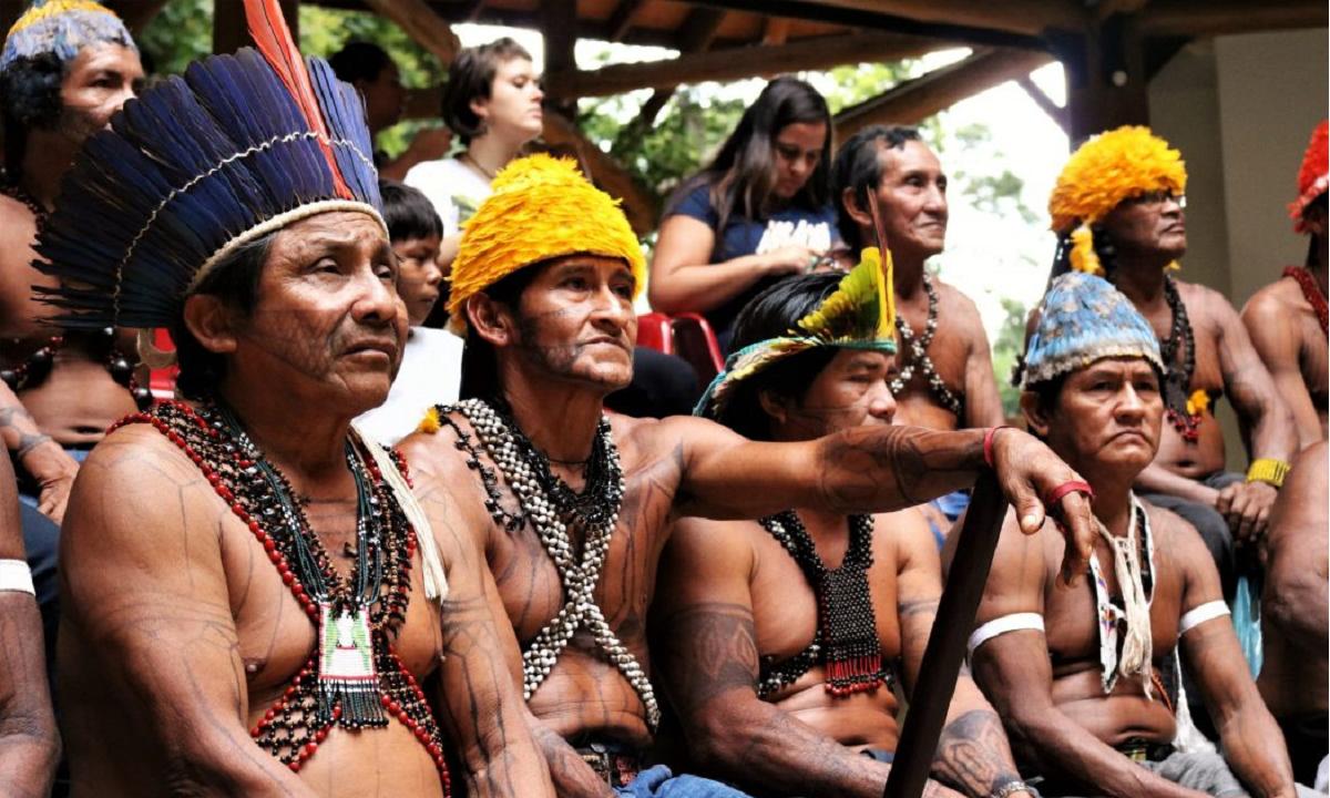 Povo Munduruku durante mobilização, em Brasília (Foto: Adi Spezia/Cimi)