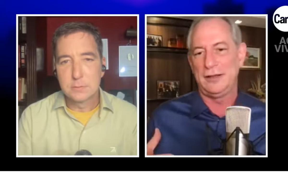 O jornalista de CartaCapital Glenn Greenwald entrevista Ciro Gomes, candidato a presidente pelo PDT. (Foto: Reprodução)