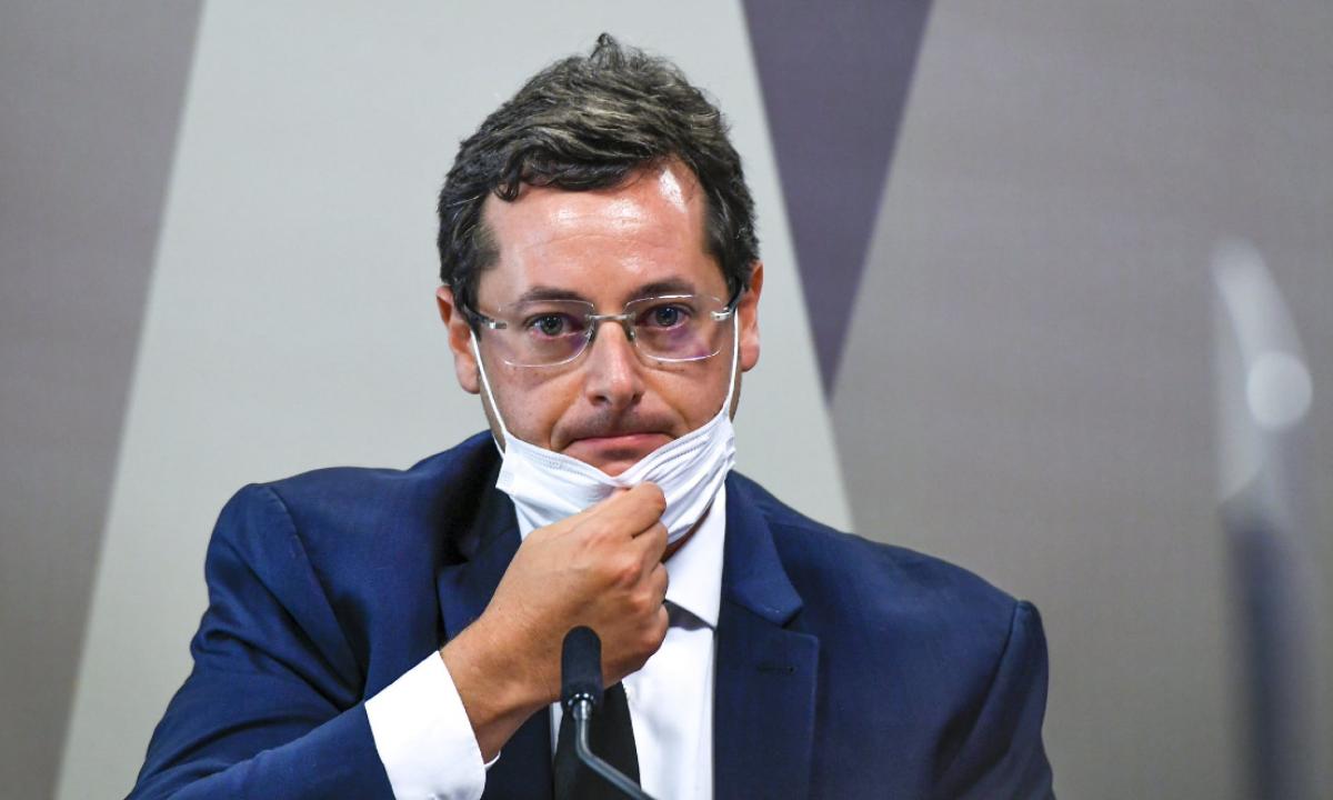 O Ex-secretário de Comunicação Social do Planalto,Fabio Wajngarten, em depoimento na CPI da Covid. Foto: Jefferson Rudy/Agência Senado.