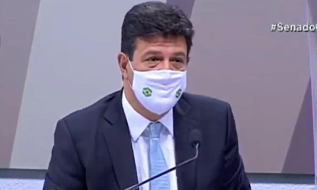 Ex-ministro da Saúde, Luiz Henrique Mandetta, depõem na CPI da Covid-29. Foto: Reprodução/Youtube.