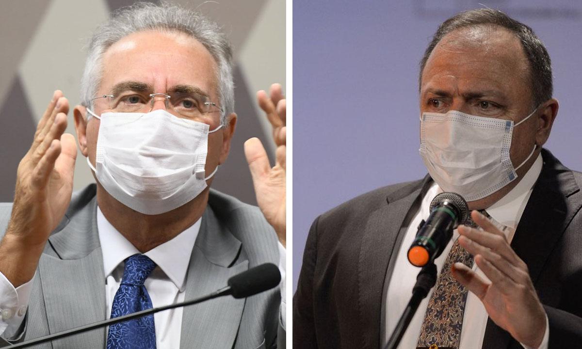 Renan Calheiros e Eduardo Pazuello. Fotos: Edilson Rodrigues/Agência Senado e Tomaz Silva/Agência Brasil