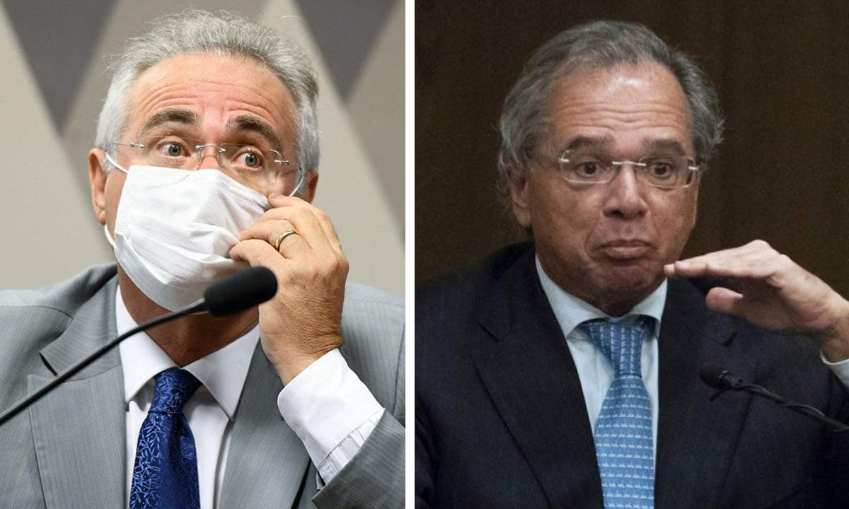 Renan Calheiros e Paulo Guedes. Fotos: Jefferson Rudy/Agência Senado e AFP