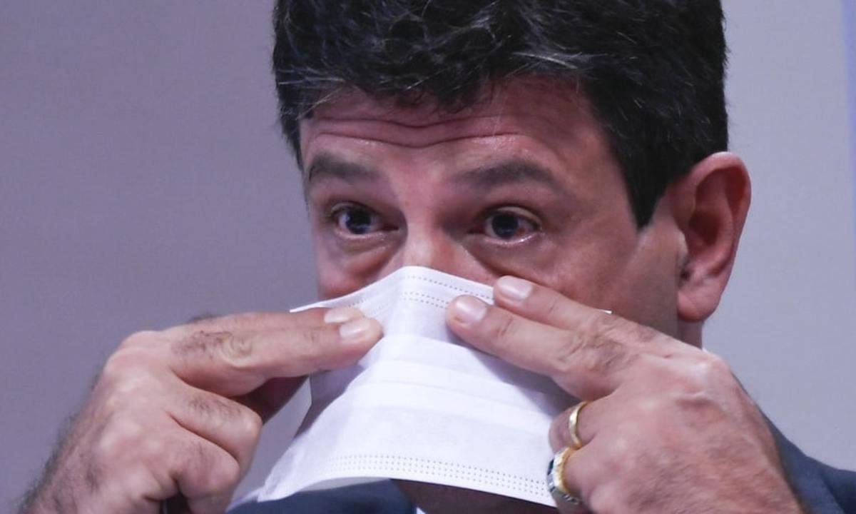 Mandetta durante o depoimento na CPI. Foto: Jefferson Rudy/Agência Senado