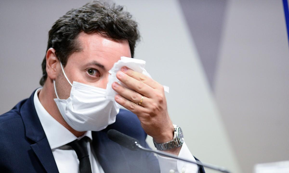 O ex-secretário da Secom, Fábio Wajngarten, na CPI da Covid (Foto: Pedro França/Agência Senado)