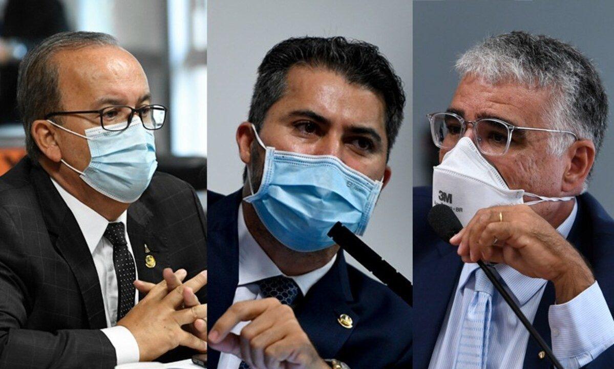 Jorginho Mello, Marcos Rogério e Eduardo Girão na reunião de instalação da CPI. Foto: Agência Senado