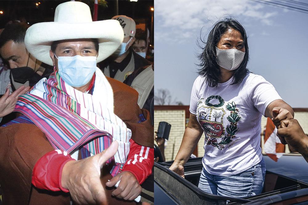 Pedro Castillo e Keiko Fujimori se confrontam em 2º turno da eleição peruana (Foto: Ernesto Benavides/AFP e Redes sociais)
