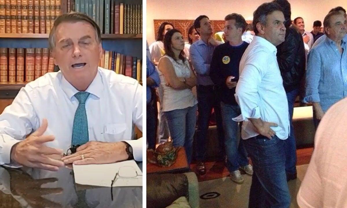 O presidente da República, Jair Bolsonaro, afirmou sem provas que Aécio Neves ganhou eleição contra Dilma Rousseff. Foto: Reprodução