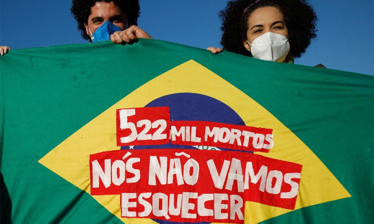 Protesto contra o presidente Jair Bolsonaro em Brasília, em 3 de julho de 2021. Foto: Sergio Lima/AFP